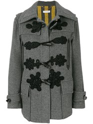 Altuzarra Embroidered Toggle Coat Cotton Calf Leather Polyester Virgin Wool Grey