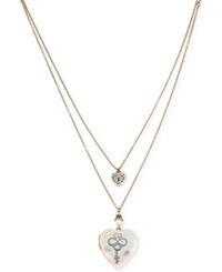 Betsey Johnson Silver Tone Key Heart Locket Pendant Necklace