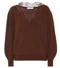 Ryan Roche Lace Trimmed Cashmere Sweater Brown