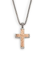 John Hardy Palu Hammered Sterling Silver Cross Necklace Silver Bronze