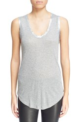 Women's Zadig And Voltaire 'Tam' Scooped Neck Tank Gris Chine