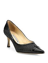 Manolo Blahnik Wickte Patent Leather And Flannel Point Toe Pumps Grey