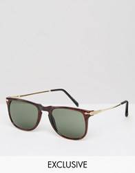 Reclaimed Vintage Square Sunglasses Brown