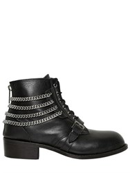 Christian Dada Chained Leather Lace Up Boots