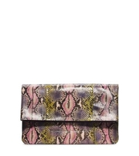Michael Kors Janey Hand Painted Python Clutch Leaf Combo