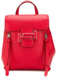 Tod's Double T Buckled Backpack Red