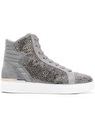 Philipp Plein Crystal Embellished Sneakers Grey