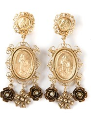 Dolce And Gabbana Madonna Earrings Metallic