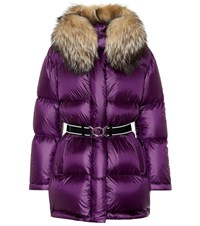 Prada Fur Trimmed Down Coat Purple