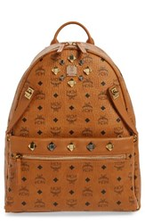 Mcm Men's Medium Dual Stark Backpack Brown Cognac