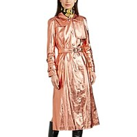 Osman Metallic Faux Leather Trench Coat Rose Gold