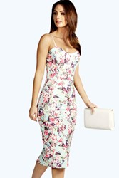 Boohoo Floral Print Strappy Midi Bodycon Dress Multi