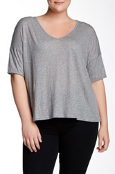 Bb Dakota Keala Elbow Sleeve Tee Plus Size Gray