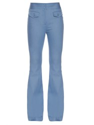 Adam By Adam Lippes Flared Stretch Cotton Trousers Light Blue
