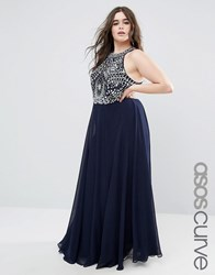 Asos Curve Cutaway Armour Maxi Dress Navy