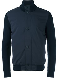 Z Zegna Stand Up Collar Contrast Jacket Blue