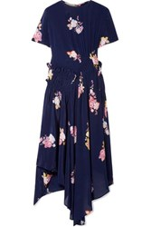 Preen Line Verna Asymmetric Ruched Floral Print Crepe De Chine Dress Navy