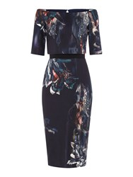 Little Mistress Bardot 3 4 Sleeve Floral Print Bodycon Dress Navy