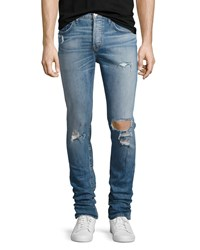 Hudson Sartor Distressed Slouchy Skinny Jeans Blue Banned