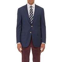 Isaia Men's Stewart Hopsack Two Button Sportcoat Navy