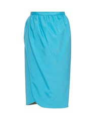 Emilio De La Morena Saima Stretch Silk Wrap Skirt Blue