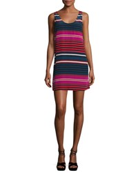 Joie Dawna Striped Silk Tank Dress Blue Red Pink Blue Pattern