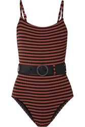 Solid And Striped The Nina Belted Ribbed Swimsuit Black