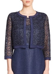 Kay Unger Metallic Lace Bolero Jacket Navy
