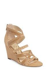 Jessica Simpson Women's Zenolia Strappy Embellished Wedge Sand Castle Suede