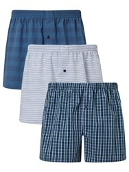 John Lewis Canford Woven Cotton Boxers Pack Of 3 Blue