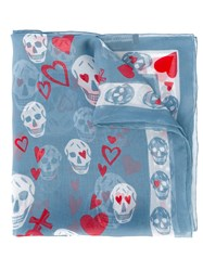 Alexander Mcqueen Heart And Skull Print Scarf Women Silk One Size Blue