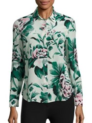 Burberry Aster Floral Blouse Emerald Green