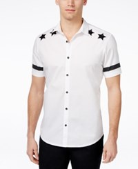 Inc International Concepts Men's Embroidered Short Sleeve Shirt Only At Macy's White Pure