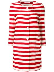 Tagliatore Striped Coat Red