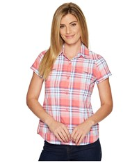 Columbia Silver Ridge Multiplaid S S Shirt Red Camellia Dobby Plaid Women's Short Sleeve Button Up