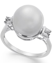 Macy's Cultured South Sea Pearl 11Mm And Diamond 1 5 Ct. T.W. Ring In 14K White Gold