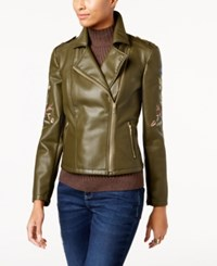 Inc International Concepts Embroidered Faux Leather Moto Jacket Created For Macy's Olive Drab