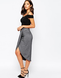 Warehouse Wrap Midi Skirt Charcoalgrey