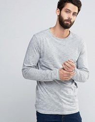 Only And Sons Long Sleeve Top With Flecked Detail Wide Neck Dress Blue