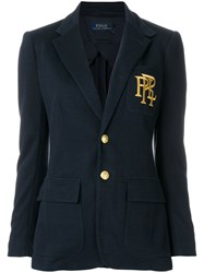 Polo Ralph Lauren Embroidered Single Breasted Blazer Cotton Polyester Viscose Blue