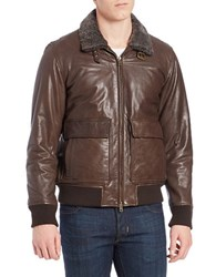 Vince Camuto Shearling Trimmed Leather Coat Brown