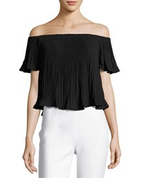 Glamorous Off The Shoulder Pleated Chiffon Top Black