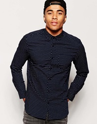 New Look Long Sleeve Diamond Print Oxford Shirt Navy