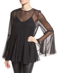 Haute Hippie The Influence Bell Sleeve Silk Blouse Black