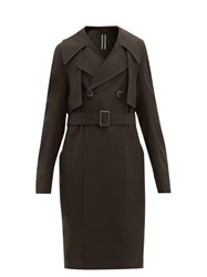 Rick Owens Double Breasted Gabardine Trench Coat Brown