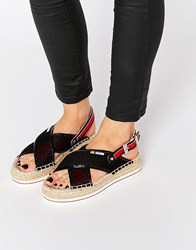 Love Moschino Mesh Espadrille Sandals Black