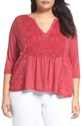 Lucky Brand Plus Size Women's Embroidered Tee Bright Rose