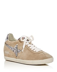 Ash Guepard Embellished Hidden Wedge Lace Up Sneakers Beige Silver
