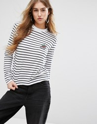 Daisy Street Long Sleeve T Shirt In Breton Stripe With Tattoo Bird Print White