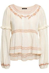 Love Sam Woman Embroidered Cotton Jacquard Blouse Ivory